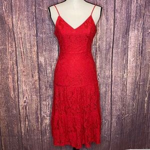 LULU'S Manning tiered lace floral red dress XS
